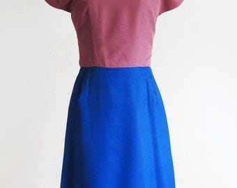 Vintage 1960s Colorblock Sheath Dress in Blue and Mauve Pink sz Small - Medium