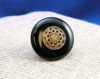 Big Black Antique Button Ring Gothic Mourning Jewelry Goth Finger Ring Victorian Style Size 6 to 8 Adjustable Ring