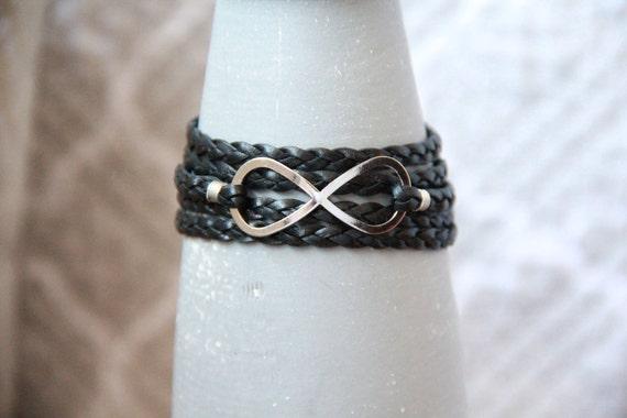 Infinity Bracelet -- Braided Black Leather Wrap