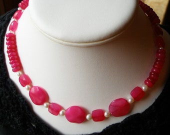 Cultured Pearl Necklace, Red Jade, Crimson, Red, Jellybean Red, Pearl Necklace