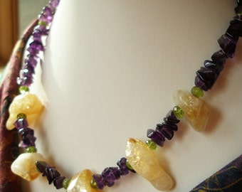 Citrine Necklace with Chunky Amethyst, Citrine, and Peridot