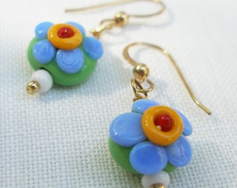 Daisy Flower Earrings,  Blue Daisies for Your Jewelry Garden