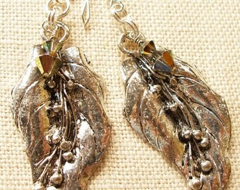 Leaf Earrings Large Silver Plated