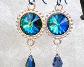 Earrings Blue Green Crystal Rivolis Hypoallergenic