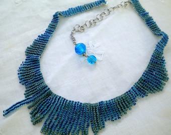 Necklace Aqua Teal Fringe Beaded Choker Adjustable