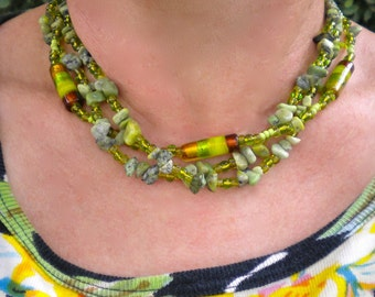 Necklace Green Turquoise Chips Multi Strand Adjustable