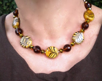 Necklace Brown Yellow Ochre Tribal Swirl Root Beer Sparkle Beaded