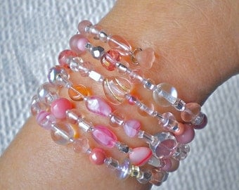 Bracelet Pink Beaded Wrap Whisper-Soft Mix