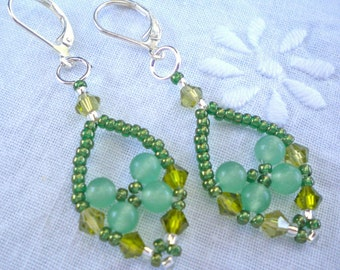Earrings Green Aventurine Beaded Trinket
