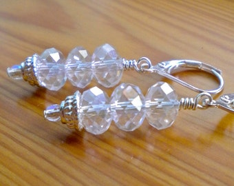 Earrings Clear Crystal Stacked Rondelles