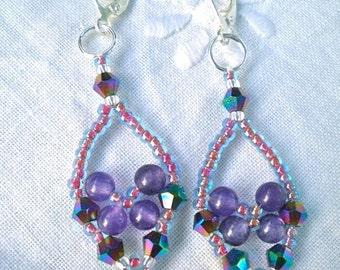 Earrings Purple Amethyst Fuchsia Pink Trinket