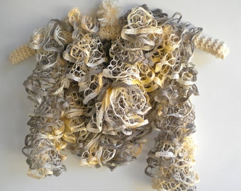 Free Shipping Scarf Cream Taupe Ruffles Starbella Wheat Fields Hand Knit