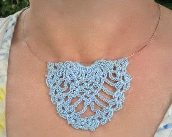 Necklace Blue Lace Crochet Pendant Pineapple Motif
