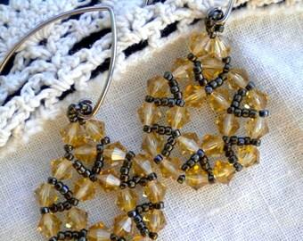 Earrings Golden Topaz Crystal Corona Beadweaving Hand Stitched