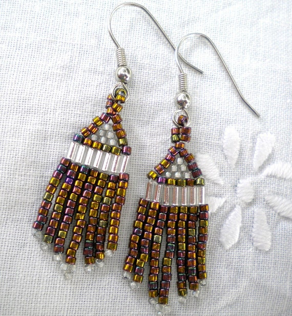 Earrings Beaded Fringe Purple Bronze Iris - Tiny Feathers