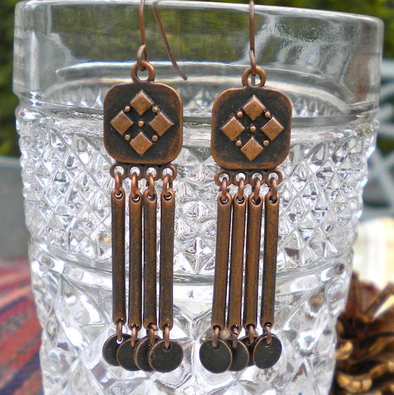 Earrings Chandelier Antiqued Copper