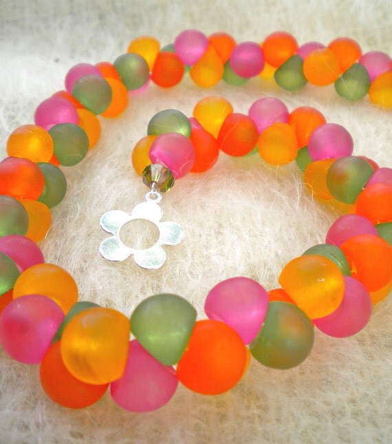 Necklace Multicolor Chunky Frosted Beads Retro Modern