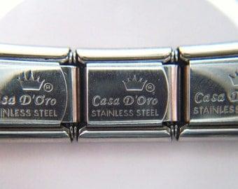 Authentic Casa D' Oro - 3 Blank Stainless Steel Links - Italian Charm Bracelet - 9mm