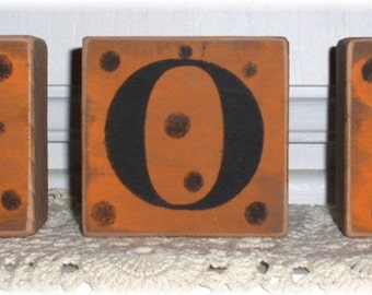 Halloween Boo Blocks Set Of 3 Orange Black Polka Dots Shelf Sitter Custom