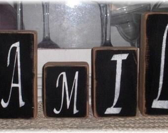 Family Blocks Black Set of Six Wood Shelf Sitters Custom Sign