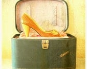 Pretty Things Fine Art Print--Vintage Peep Toe Shoes Travel Case Blue Yellow Pink Glamour Pinup Girl Antique Wholesale