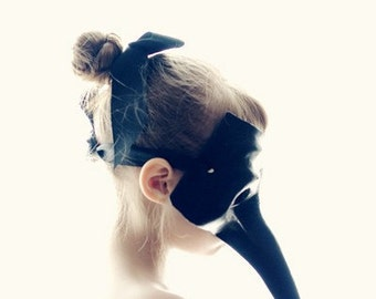 Bird Girl Fine Art Print--Ballet Bird Mask Black White Cream Stark Minimal Strange Dark Black Swan Graceful Child Wholesale