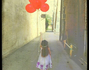 Get Me Out of Here Fine Art Print--Red Balloons Alley Urban Little Girl Escape Travel Adventure Gritty Portrait