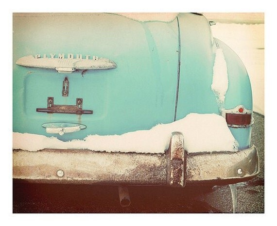 Vintage Car Winter Fine Art Print--Blue Plymouth Snow Teal Turquoise Robins Egg Mid Century Winter Stark Cold Cool Wholesale
