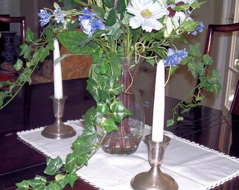 Pair of SILVER PLATED CANDLESTICKS with 9 Colonial Williamsburg Candles