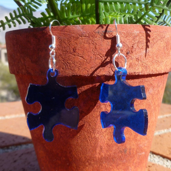 Blue Puzzle Piece Earrings