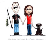 Custom Portrait Cartoon Couple with Favorite Things