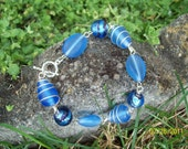 Blue Sea Glass Wire Wrapped Beaded Bracelet
