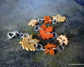 Leaf Button Bracelet  in Pumpkin and Saffron