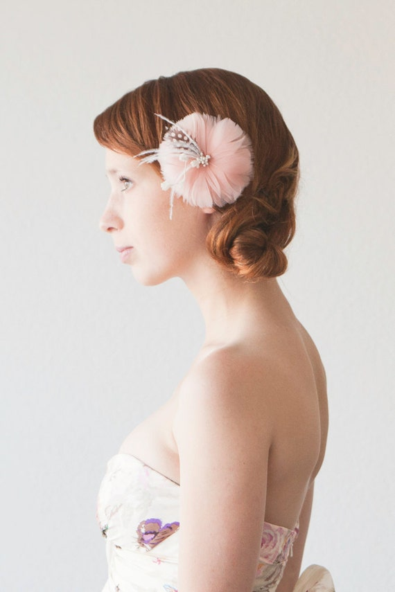 Wedding, Bridal Fascinator, Head Piece, Floral Hair Piece, Feather Flower, Hair Flower - Sweet as Candy