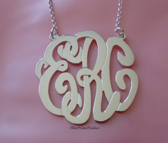 Monogram necklace or Monogram pendant necklace, sterling silver, 2 inches tall