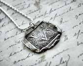 Antique Wax Seal Letter Necklace - Monogrammed Necklace Pendant