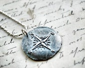Compass Rose Pendant - Antique Wax Seal Stamped in Silver