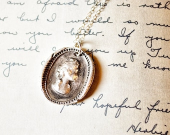 Cameo Portrait Antique Wax Seal Silver Pendant Necklace