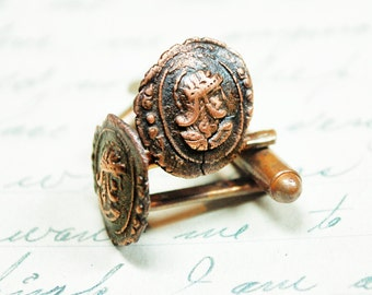 Ancient Gladiator Wax seal Cufflinks Cameo Antique Copper