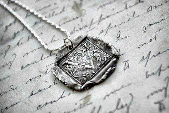 Antique Wax Seal Letter Necklace - Monogrammed Necklace Pendant