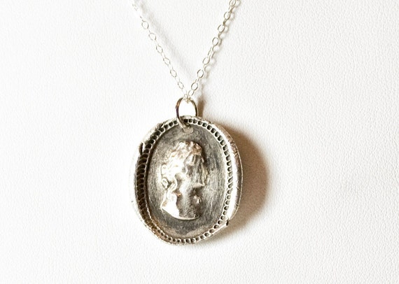 Antique Wax Seal Cameo Necklace - Silver Portrait Medallion