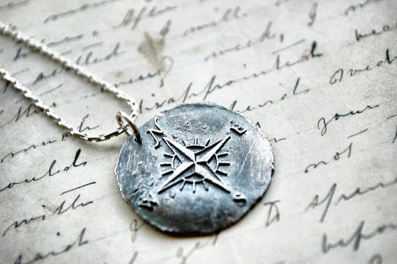 Nautical Star Necklace, Compass Rose Charm, Wax Seal Pendant, Gifts for Her, Gifts for Him, Gifts for Grads, Gifts for Travelers,