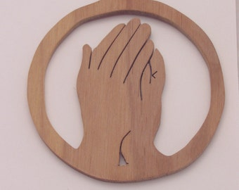 Walnut Wood Praying Hands Ornament