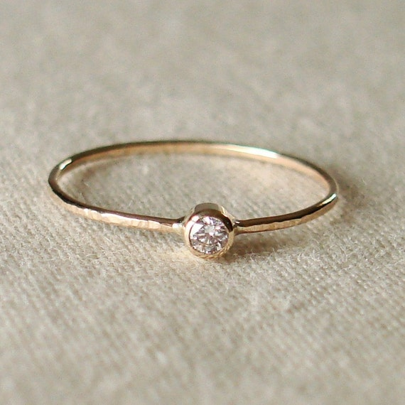 Select a Stone - Delicate Birthstone Stack Ring in Solid 14k Rose or Yellow or White Gold - Tiny Dainty Gemstone Stacking Ring in 14k Gold