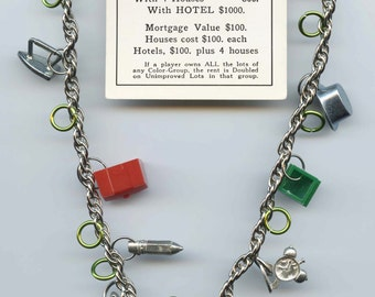Vintage Monopoly Game Pieces and compass charm necklace