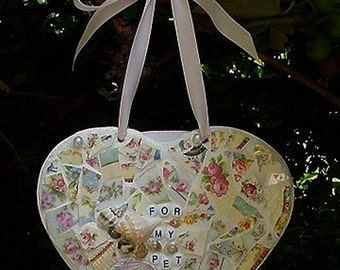 Sailor's valentine inspired broken china mosaic heart for my pet
