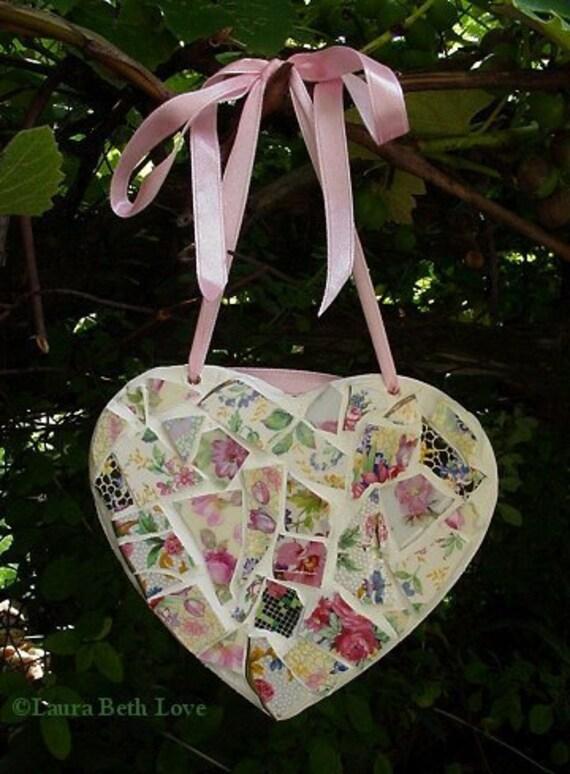 Vintage English chintz broken china mosaic heart wall decor