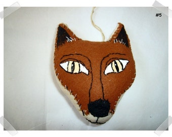 Red Fox Ornament/Felt and Muslin Fabric/Handmade**