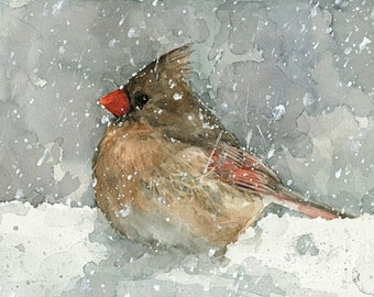 Cardinal Watercolor Art Print, Bird in snow painting