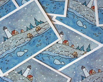 Illustrated Coastal Christmas Cards Snow Lighthouse - Pack of 10